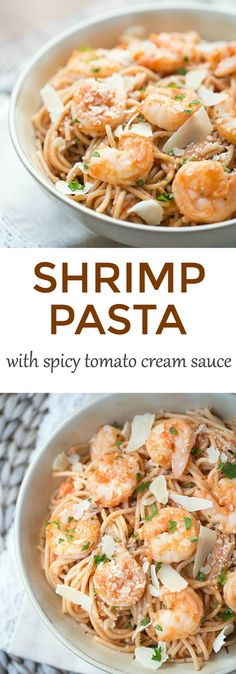 Simple and economical, this Shrimp Pasta is made with whole wheat spaghetti and is tossed with a homemade spicy tomato cream sauce. Ready to serve in under 30 minutes!