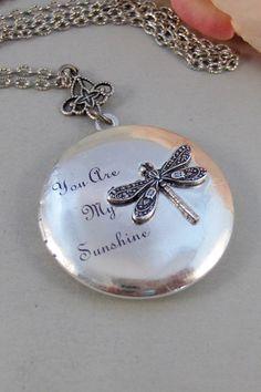 Sunshine DragonflyLocketSilver by ValleyGirlDesigns on Etsy, $35.00