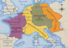 Carolingian Empire in 843.  The grandsons of Charlemagne.