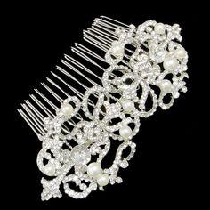 Bridal Flower Drop Faux Pearl Clear Rhinestone Hair Comb Piece Accessories, Showy Wedding Swarovski Crystal Bridesmaid Jewelry-118108996