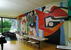 Magnificent Le Corbusier mural at the Fondation Suisse Le Corbusier, Mural Art, Wall Murals, Art Et Architecture, Chinese Architecture, Futuristic Architecture, Maurice Utrillo, Modern Art, Contemporary Art