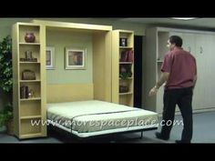 Bi-fold bookcase murphy bed is perfect to turn an office of studio into a guest room!!!!!  Wonderful idea and we saw a lovely dark maple case at Costco!