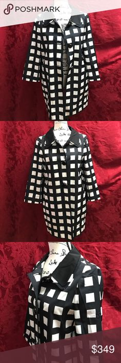 Kate Spade Nicholas Coat Fashion Rain Jacket Absolutely stunning and eye catching!! You are sure to turn heads in this gorgeous Kate Spade beauty!! Extra buttons included. Size Small. Style # OUMO0181. Black & Cream checkered pattern, so hot! Pink interior!! Best of all, it has pockets! kate spade Jackets & Coats Trench Coats