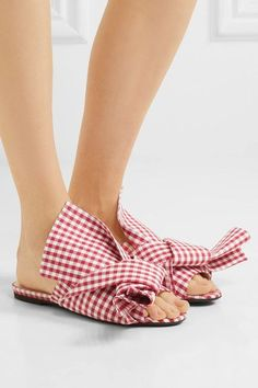No. 21 - Knotted Gingham Twill Sandals - Red - IT36.5