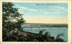 1933 view of bridge over the Missouri River, Atchison, Kansas.