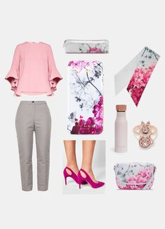 548a8c8a546e6 Ted Baker outfit Classic pink smart casual formal flowers tedbaker pink grey