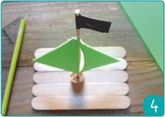 Fiche créative - Bateau pirate - Bateau en carton mousse et batonnets de glace