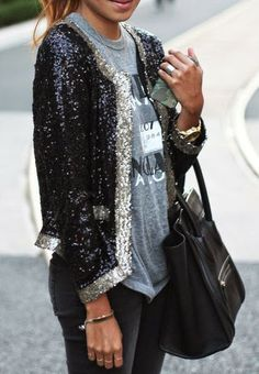 Black And Silver Sparkle Cardigan