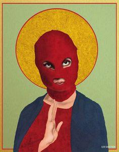 Shop Saint Pussy Riot from eplet in Digital, available on Tictail from kr Arte Latina, Arte Punk, Art Du Collage, Street Art, Protest Art, Political Art, Art Et Illustration, Art Graphique, Psychedelic Art