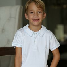 Polo White with Blue Piping - Classic Luxury Baby and Children's clothing | KelseyMaclean.com