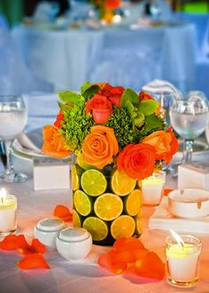 orange and lime centerpieces