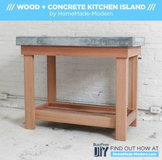 Concrete topped island? Yes please! This would be a great piece for an outdoor deck area!!!