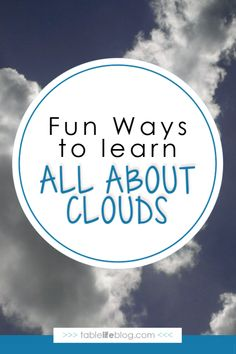 All About Clouds Unit Study Resources ~ Are you studying clouds and weather with your kids? Here are some fun resources that are perfect for an all about clouds unit study. Science Curriculum, Science Lessons, Teaching Science, Science For Kids, Earth Science, Science Activities, Weather Activities, Weather Crafts, Weather Science