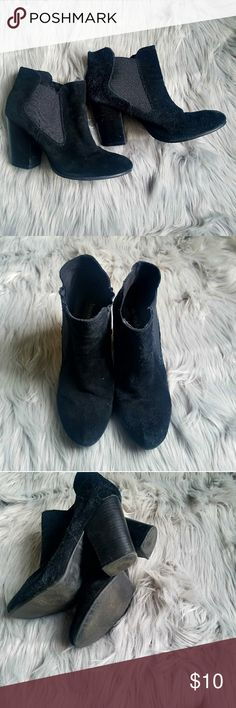 """Black ankle boot Faux sued ankle boots  Chuncky heel Elastic sides to make taking on and off easy  Worn with LOVE.   Brand Bjorndal Size 8.5  **As you can see in the pics the right shoe is more worn looking than the left . I don't even know how this is possible lol! I was looking at the pic I took and I'm just like """"What in the world"""" any who I hope these bring someone joy !! bjorndal Shoes Ankle Boots & Booties"""