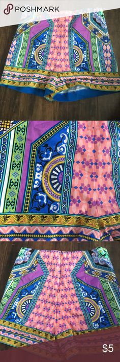 """Colorful summer Aztec high waisted shorts Hello ladies!!!! Welcome to my listing! This is priced to sell-  German Shepard mom but smoke free home.  """"""""""""EUC no rips stains or tears they just don't fit me anymore!"""""""""""""""" Shorts"""