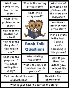 Book Talk Questions for Reading