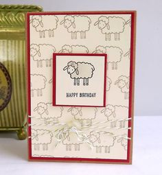 Birthday card with sheep on Kraft card by MaudieMaudie on Etsy