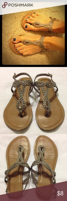 Pewter sandals In good condition, with adjustable ankle strap. Minor scuffing on front, visible in 2nd picture. Merona Shoes Sandals
