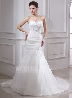 Trumpet/Mermaid Sweetheart Chapel Train Organza Satin Wedding Dress With Ruffle Lace Beading (002000325)