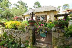 """Ocean's End"" cottage ~ quintessential Carmel cottage ~ fairy tale gardens & rustic stone fencing ~ sw corner of Ocean & San Antonio Cottage Living, Cozy Cottage, Cottage Homes, Cottage Style, Cottage Gardens, Cottage Ideas, Storybook Homes, Storybook Cottage, Fairytale Cottage"