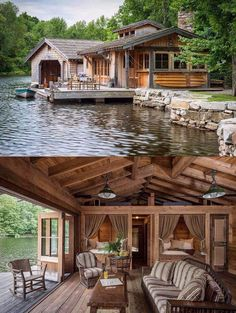cabin on the water with a cute boat house attached