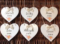 Hand-painted personalised thank you gifts from Lilly Dilly's you girl of bride Personalized Thank You Gifts, Luxury Wedding Gifts, Pageboy, Place Card Holders, Hand Painted, Bridesmaid, Wedding Ideas, Heart, Flowers