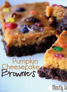 Pumpkin Cheesecake Brownies nomnomnom :) www.mostlyhomemademom.com