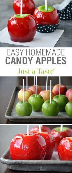 Easy Homemade Candy Apples #recipe via justataste.com