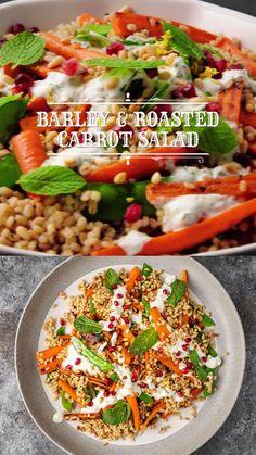 Mediterranean Salad Dressing, Mediterranean Salad Recipe, Mediterranean Food, Warm Salad Recipes, Salad Recipes Video, Healthy Recipes, Barley Salad, Couscous Salad, Appetizer Salads