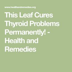 This Leaf Cures Thyroid Problems Permanently! - Health and Remedies