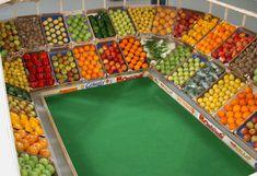 vegetables, produce, football stadium, fruit, sculpture, helmut smits, recycled materials