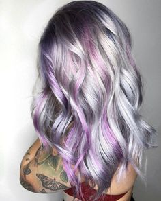 Grey Hair With Purple Highlights, Purple Natural Hair, Silver Purple Hair, Purple Hair Streaks, Bright Purple Hair, Dyed Hair Purple, Red Brown Hair, Violet Hair, Hair Color Purple