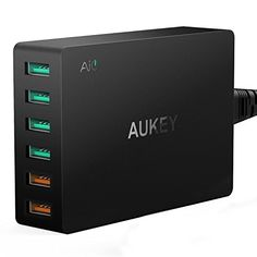 AUKEY Quick Charge 3.0 Chargeur USB Secteur 60W 6 Ports, 2 sorties Quick Charge 3.0 et 4 sorties AiPower 5V/ 2.4A, Chargeur Voyage pour HTC…