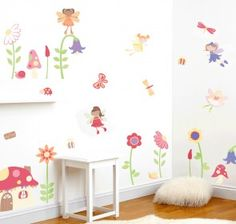 Enchnated Fairy Garden Wall Decals - girls nursery and bedroom wall mural kit
