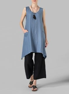 MISSY Clothing - Linen High-Low Extra Long Tunic
