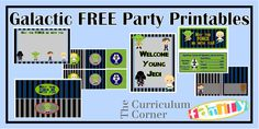 """Free Galactic Party Printables - Star Wars Inspired party supplies for a birthday party or """"May the 4th be with You""""  notecards, water bottle labels, circles, welcome sign, candy bar wrappers, buffet tents and treat bag labels."""