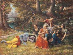 Gopis Play Prank on Krishna by Prasanta Dasa Radha Krishna Quotes, Radha Krishna Pictures, Radha Krishna Photo, Krishna Photos, Shree Krishna, Krishna Art, Radhe Krishna, Bal Krishna, Krishna Avatar
