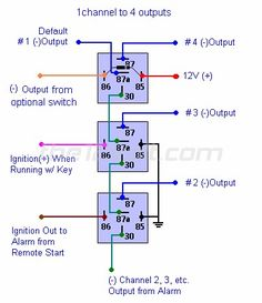 How to Wire Automotive SPDT Relays - One Channel to Multiple Outputs Automotive Engineering, Electronic Engineering, Electrical Engineering, Basic Electrical Wiring, Electrical Circuit Diagram, Trailer Wiring Diagram, Motorcycle Wiring, Car Ecu, Truck Repair