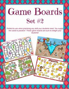 """Here is another set of 4 game boards to use with your students.  Themes in this game board set include """"popcorn"""", """"dinosaurs"""", beach in the summer"""", and """"Monster Mania"""".  These boards are perfect to practice math skills, sight words, vocabulary, concepts and so much more."""