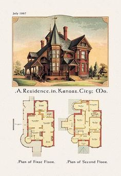 American Architecture of the Victorian Period with an illustration of the home's exterior and a two floor architectural plan and layout