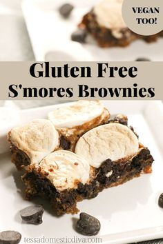 Gooey and rich gluten free blondies are studded with bits of caramelized marshmallows. Vegan option. Paleo Recipes, Real Food Recipes, Vegan Options, Blondies, Vegan Gluten Free, Beef, Marshmallows, Diva, Desserts