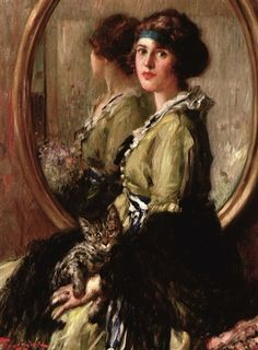 Woman with a Cat ~ Fernand Toussaint ~ (Belgian: Funny Cat Videos, Funny Cat Pictures, Funny Cats, Intermediate Colors, Cross Stitch Supplies, Mirror Image, Kittens Cutest, Love Art, Art Images