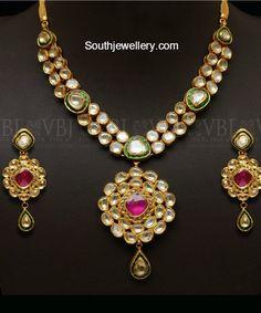 Polki Diamond Necklace Set photo