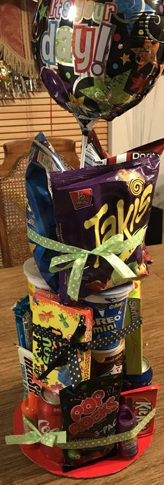 Birthday Snack Tower gift for old boy – Birthday Presents Birthday Party Snacks, Birthday Cakes For Teens, 13th Birthday Parties, 12th Birthday, Best Birthday Gifts, 18th Birthday Gifts For Boys, Birthday Presents, 12 Year Old Birthday Party Ideas, Birthday Morning Surprise