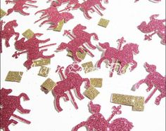 Party Confetti, Hot Pink And Gold Glitter, Carousel Horse, Merry Go Round Theme, Ponies, Girl Birthday, Baby Shower, Table Decor, 150 Pieces