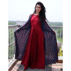 Buy The Secret Label Wine Red Cotton Printed Jacket Style Kurta online in India at best price. ine red printed maxi dress paired with dual toned long jacket. The maxi dress can be worn just like