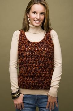 Crochet Lionbrand- of Speed Hook 2-Hour Tank (double the chain of 19, and use smaller hook ) for Knit-a-Square vest