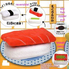 Crux Reversible Sushi Plushy Pouch 2-Piece Set: White Fish & Tuna
