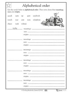 FREE WORKSHEET Using a dictionary: alphabetical order - your child will practice using a dictionary to look up 13 words, list them in alphabetical order, and write the meanings, origins, and uses for each. Grades 2, 3.