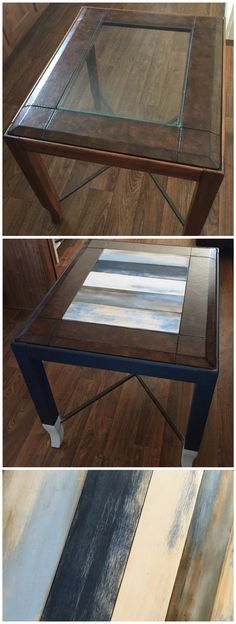 Replaced glass top end table with wood panels and distressed each by chalk painting, sanding and staining for a different look.